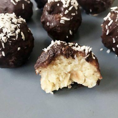 Keto Coconut Fat Bomb With Hazelnut And Chocolate Glaze