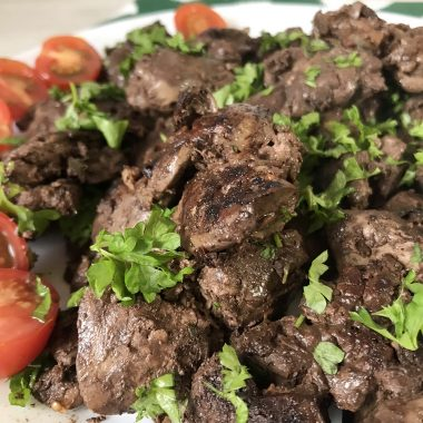 Grilled Chicken Liver With Garlic And Lemon Juice