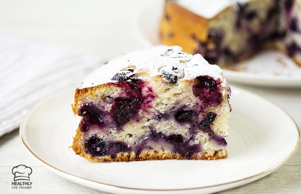Slice of the Blueberry Yoghurt Cake