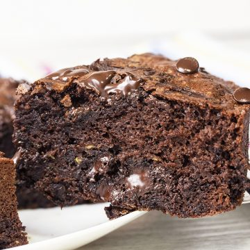A rich and healthy chocolate zucchini cake topped with dark chocolate to self indulge after a rough day.