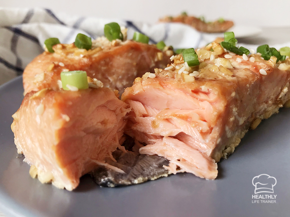 honey garlic baked salmon on a plate