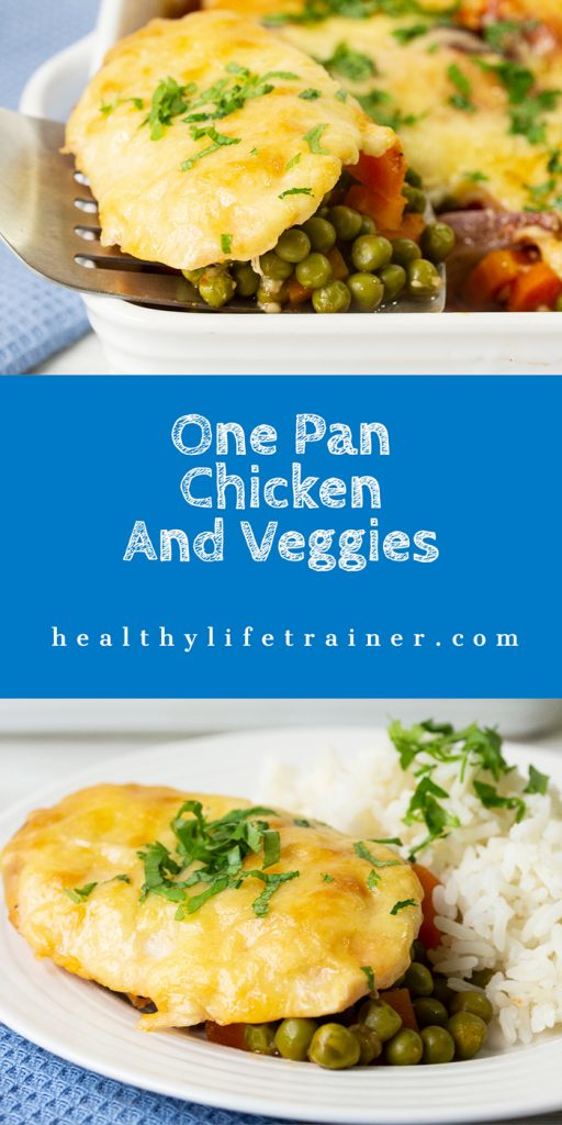 one pan chicken and veggies banner