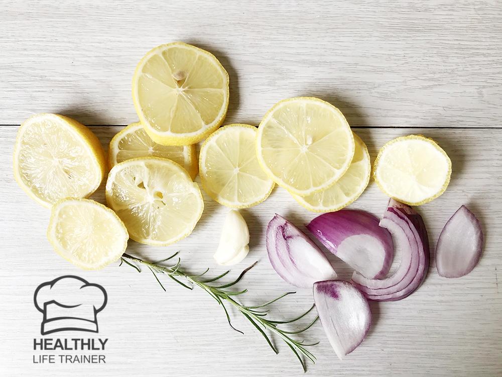 lemon, onion and garlic