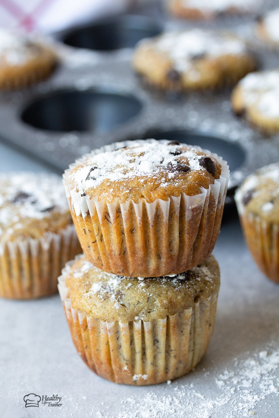Chocolate chip banana muffins are fluffy, moist and have dens banana flavour.