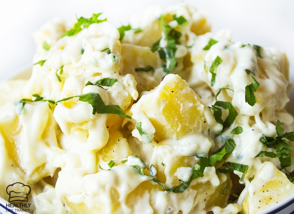 An easy potato salad recipe which doesn't need any fancy ingredients, super simple!.