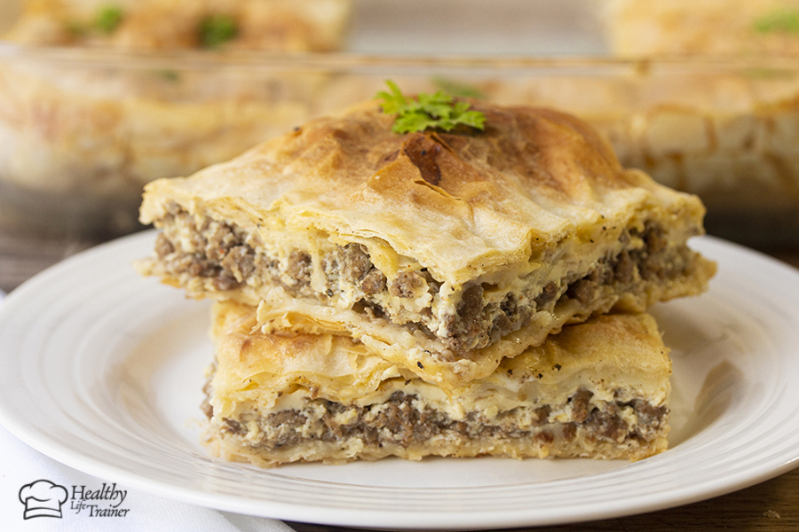 Phyllo meat pie or Goulash is a soft, super flaky and delicious layers of phyllo sheets