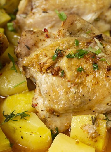 One-pan chicken and potatoes is a deliciously flavourful meal for dinner.