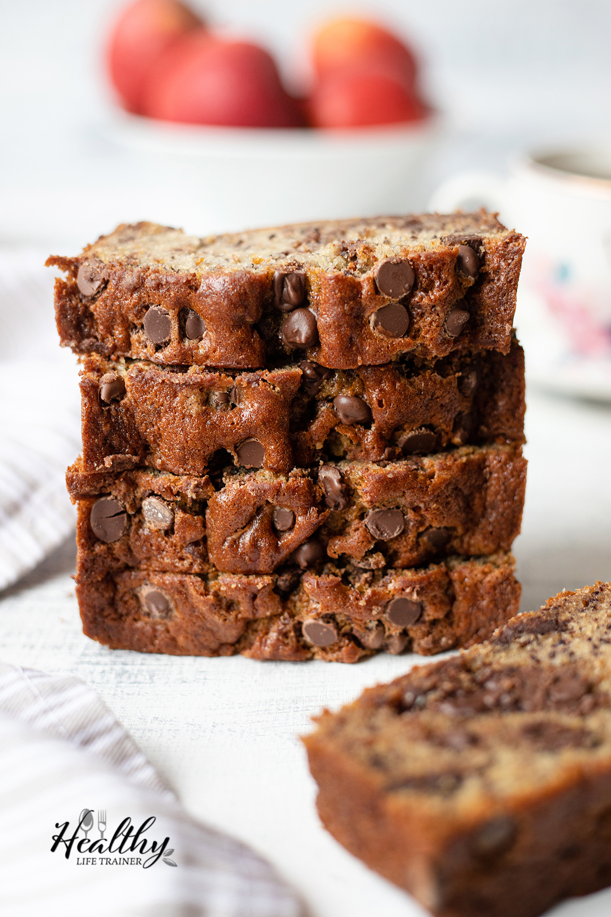 slices of banana bread piled