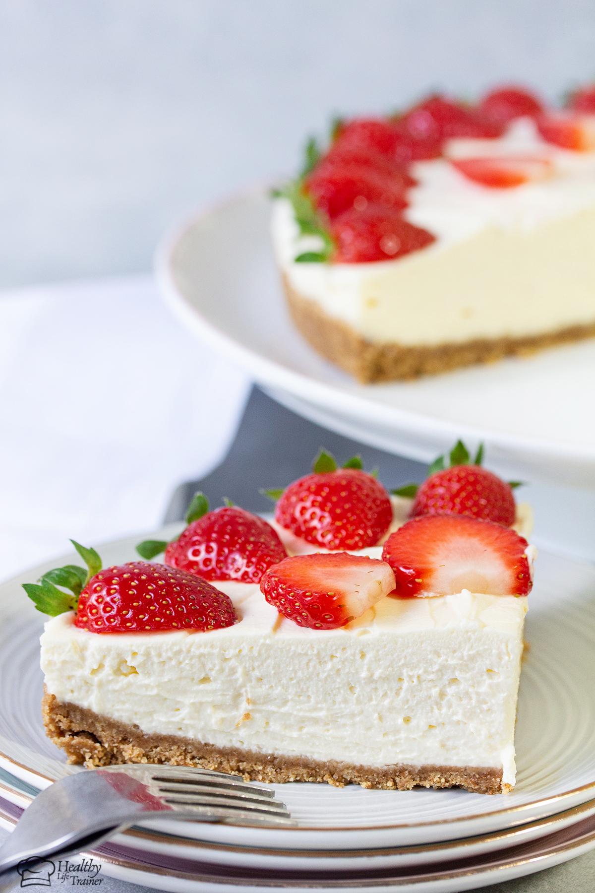 close shot to the Strawberry Cheesecake