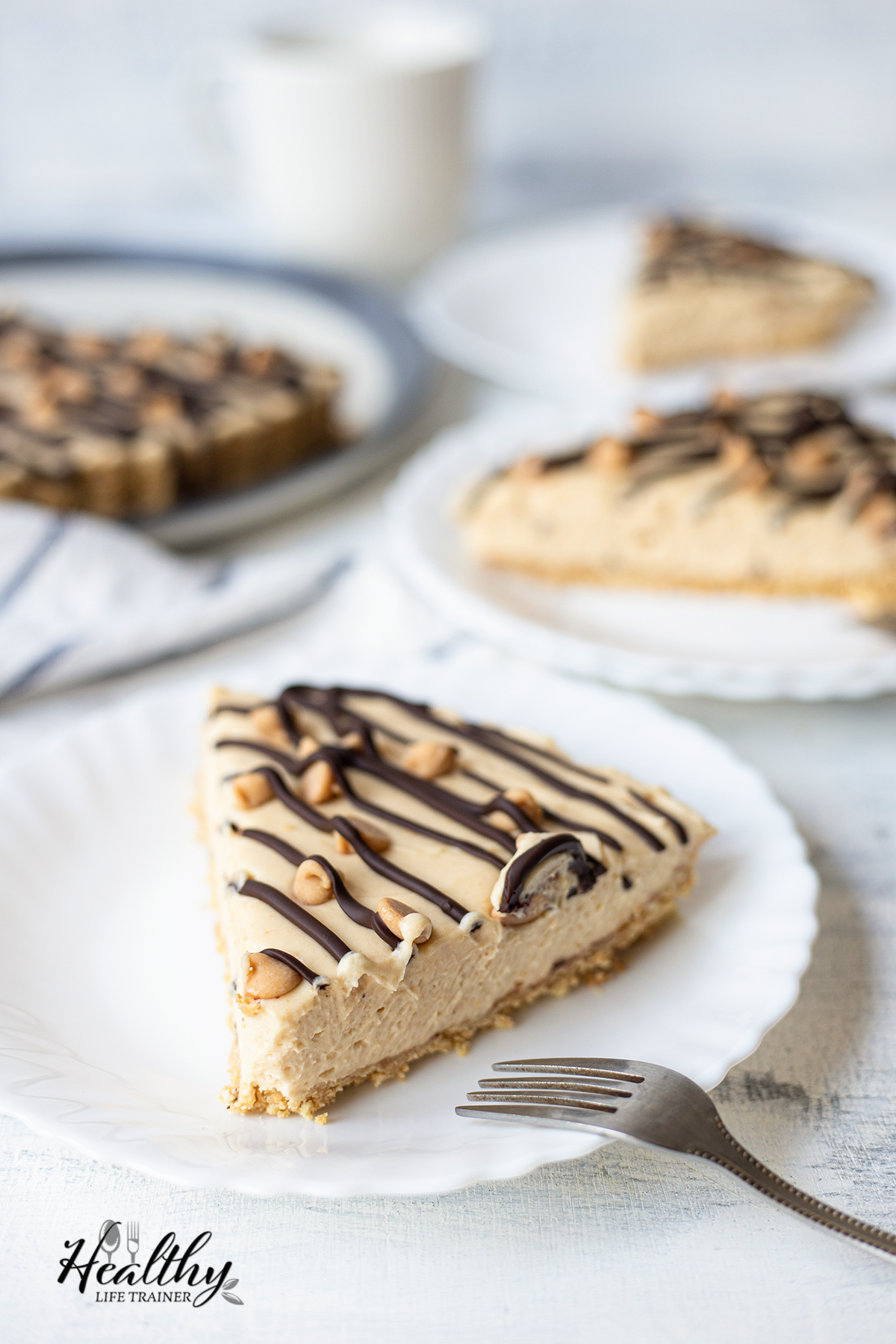 three plates with three slices of the Peanut Butter Pie