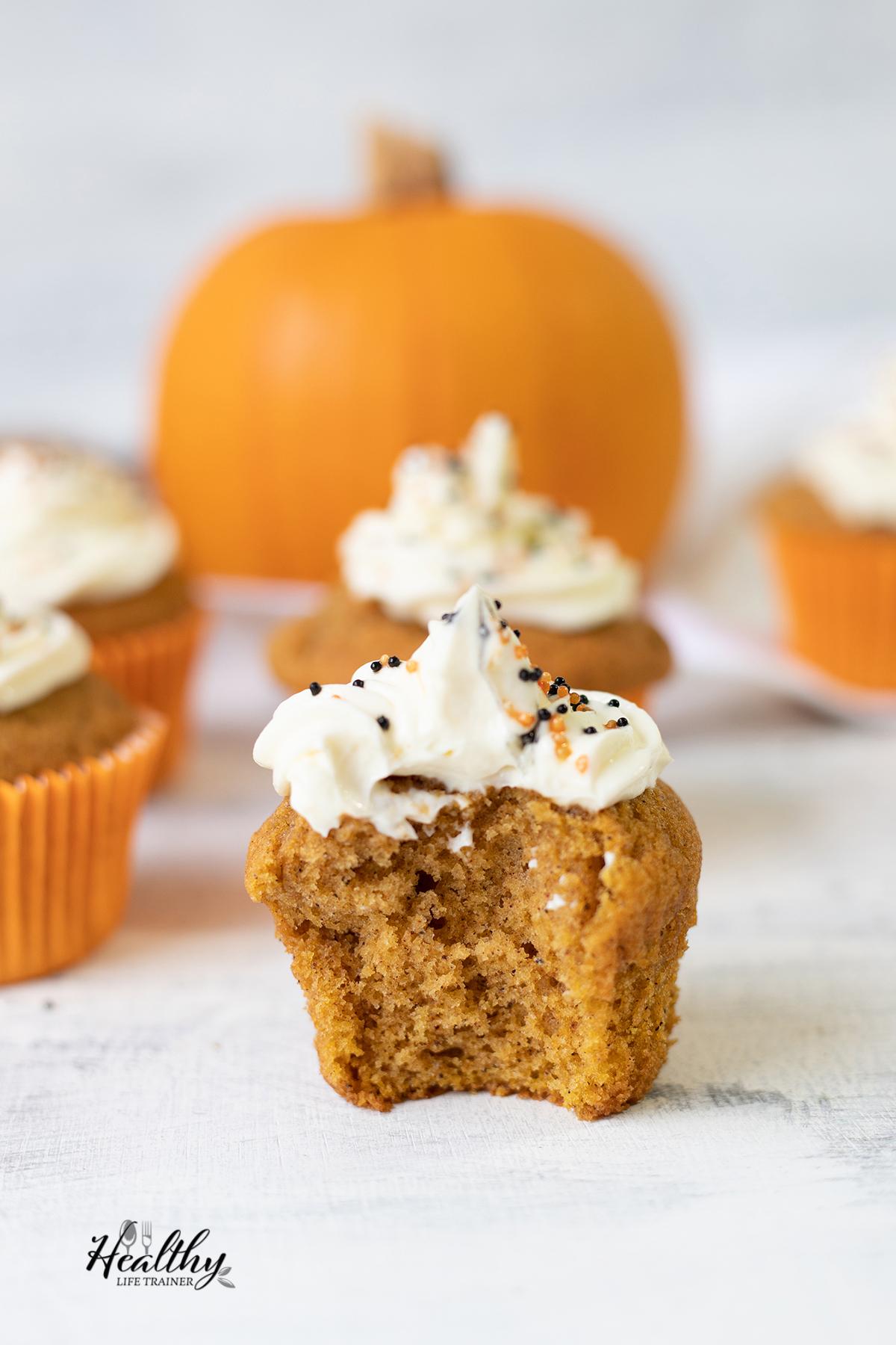 focus shot to Pumpkin Cupcake