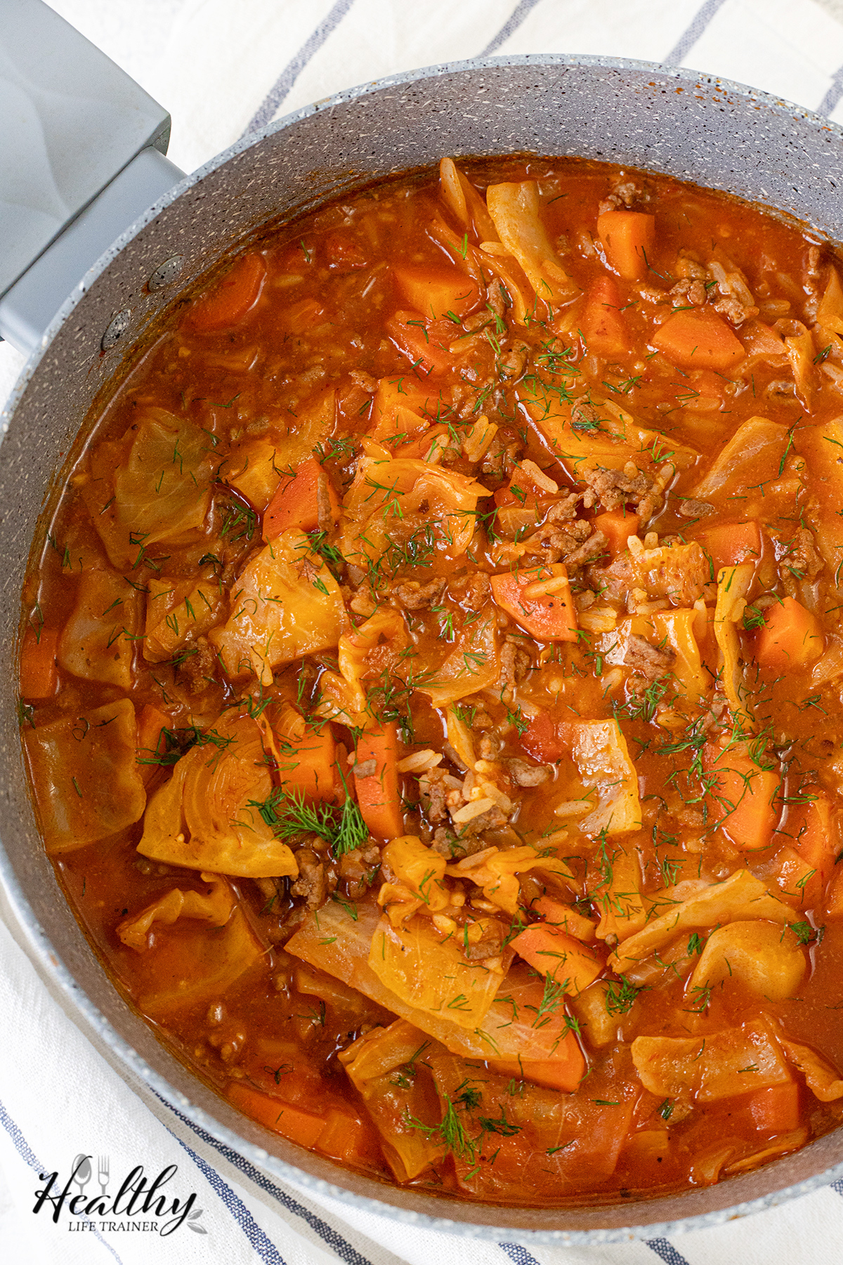 Beef and Cabbage Soup in a pot