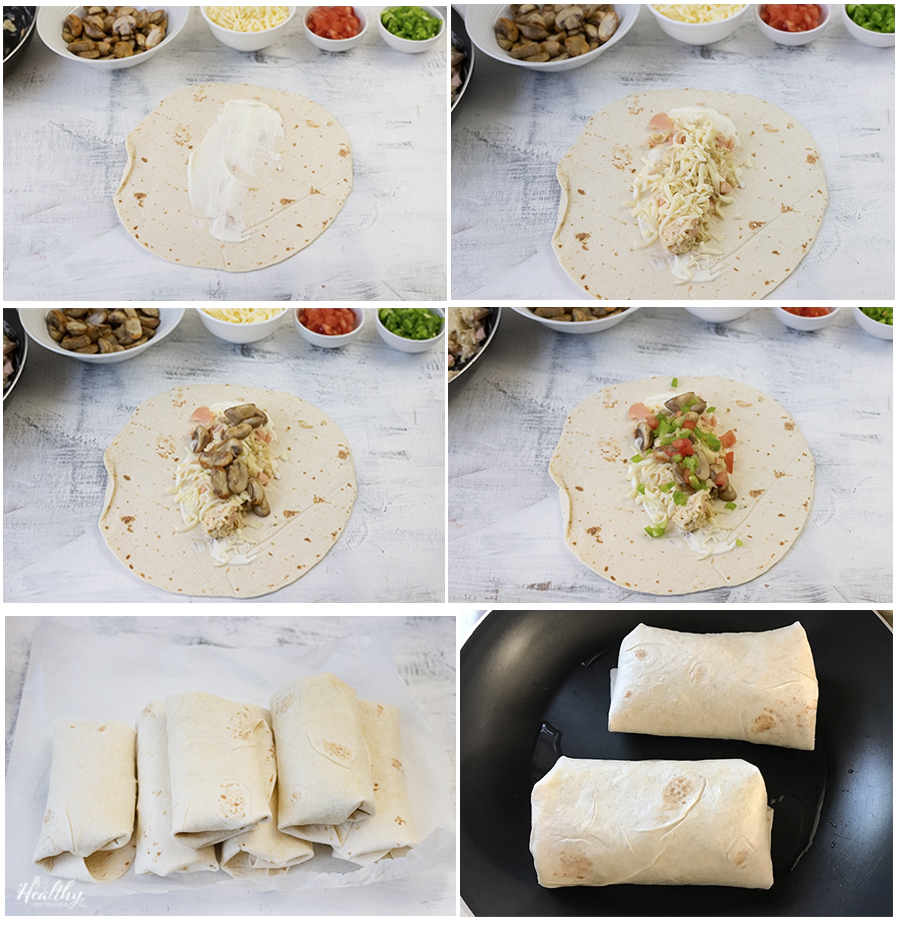 steps of assembling the burritos