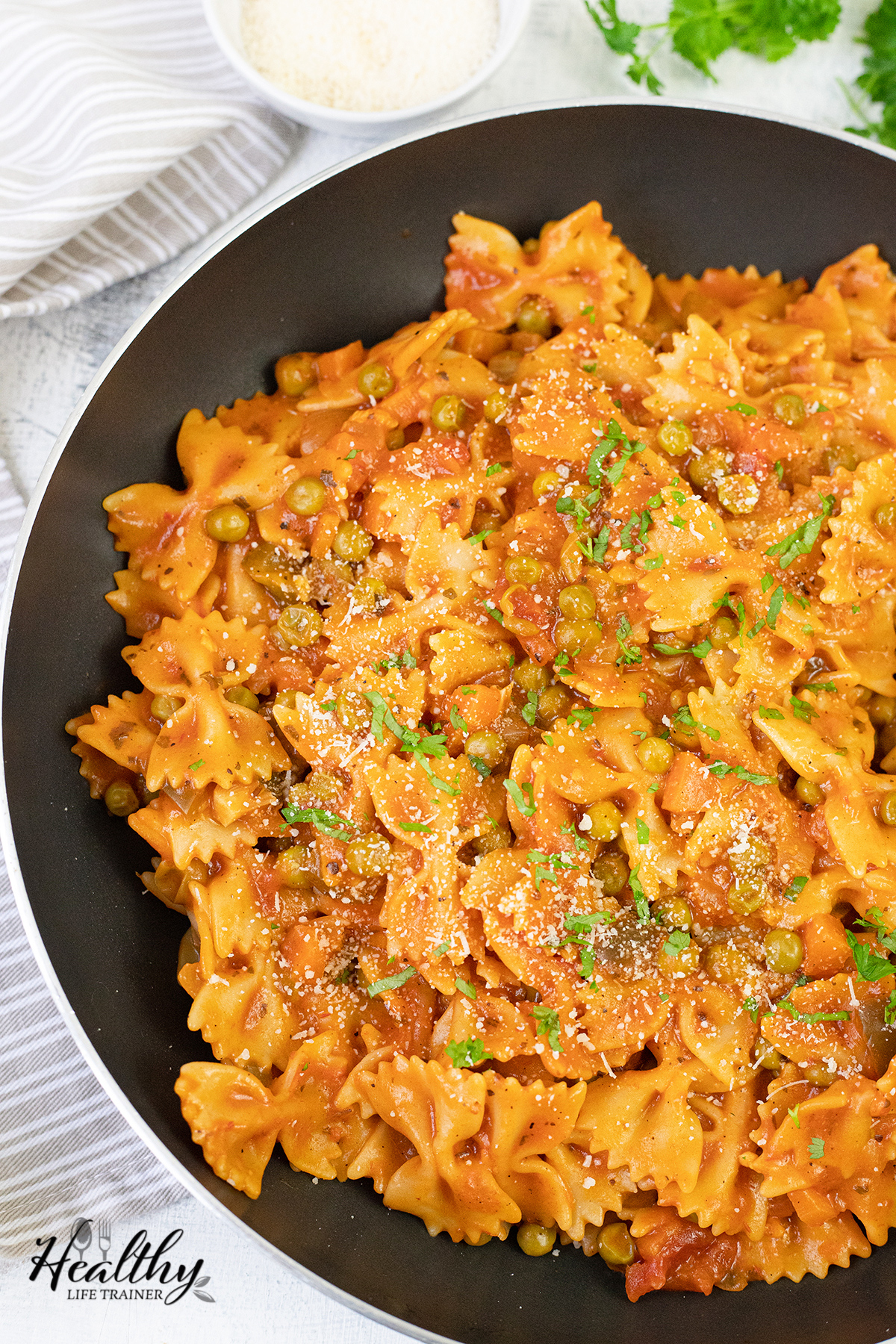Pasta with Veggies in a skillet