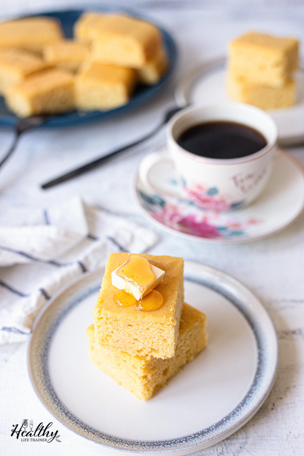 Cornbread, honey, butter and tea