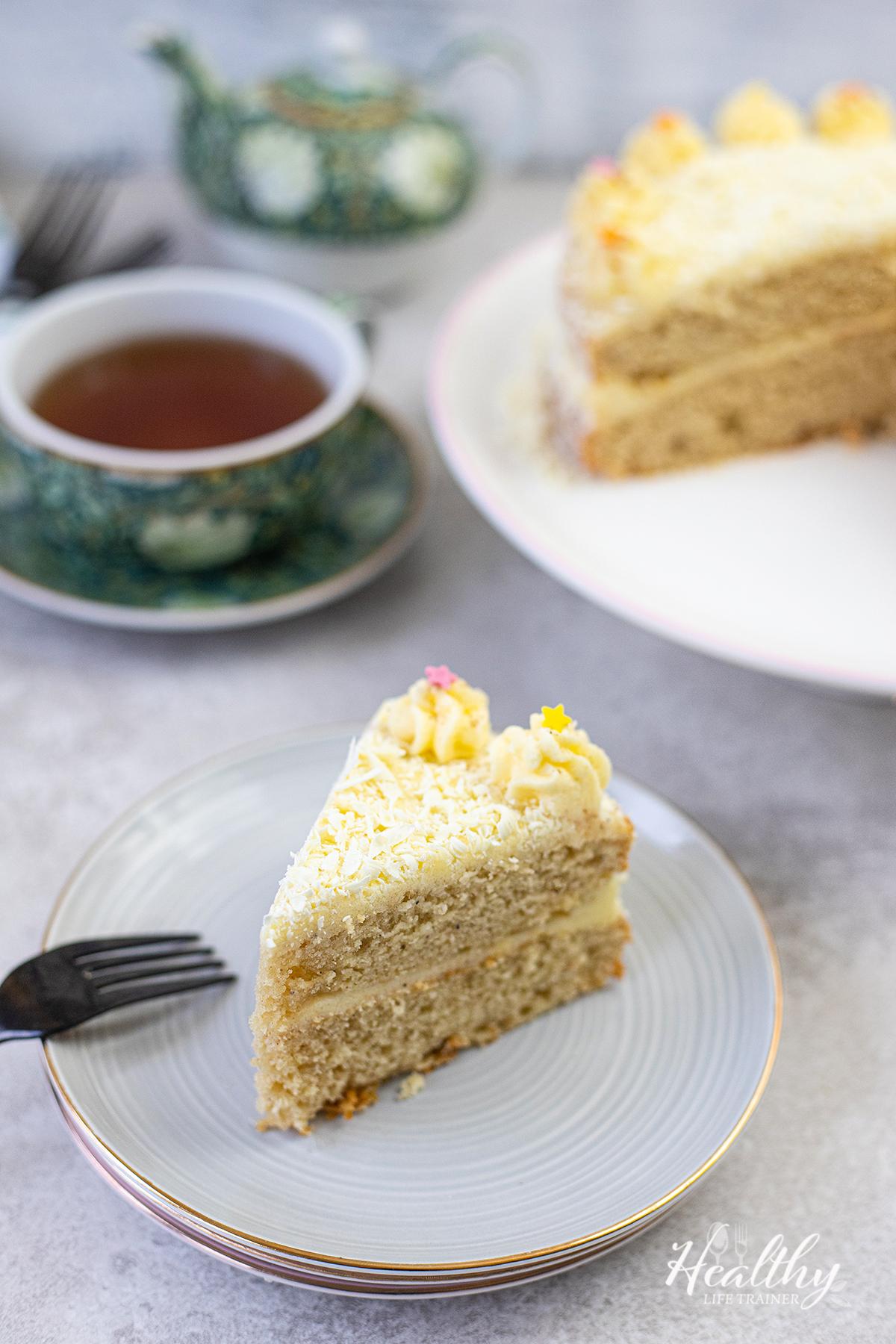 one slice of the cake on a serving plate #eggnogcake #easycake #christmascake #birthdaycake