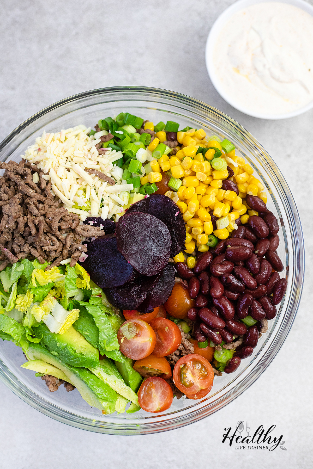 all the salad ingredients #saladrecipe #easysalad #tacosalad #tacobowl #healthysalad