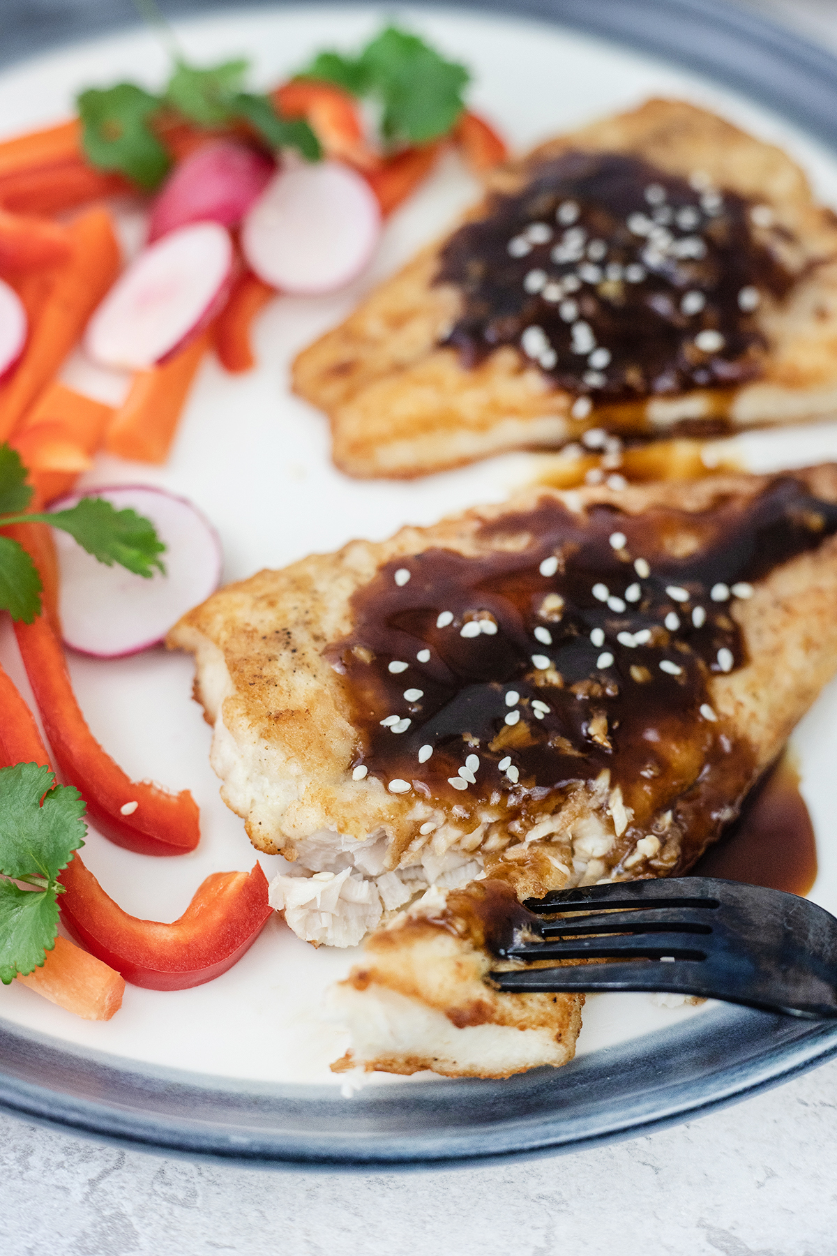 Pan-Fried Sea Bass with Soy Sauce