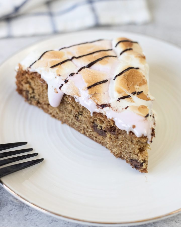 S'mores cookie pie is loaded with chocolate chips and marshmallows