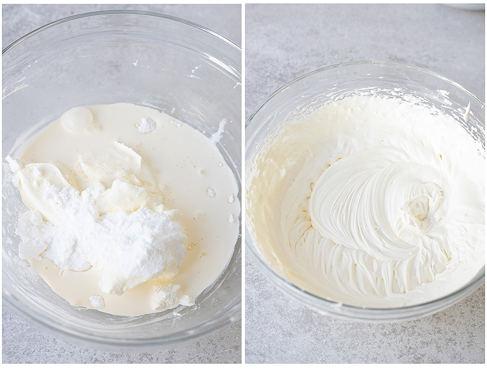making the cream cheese layer