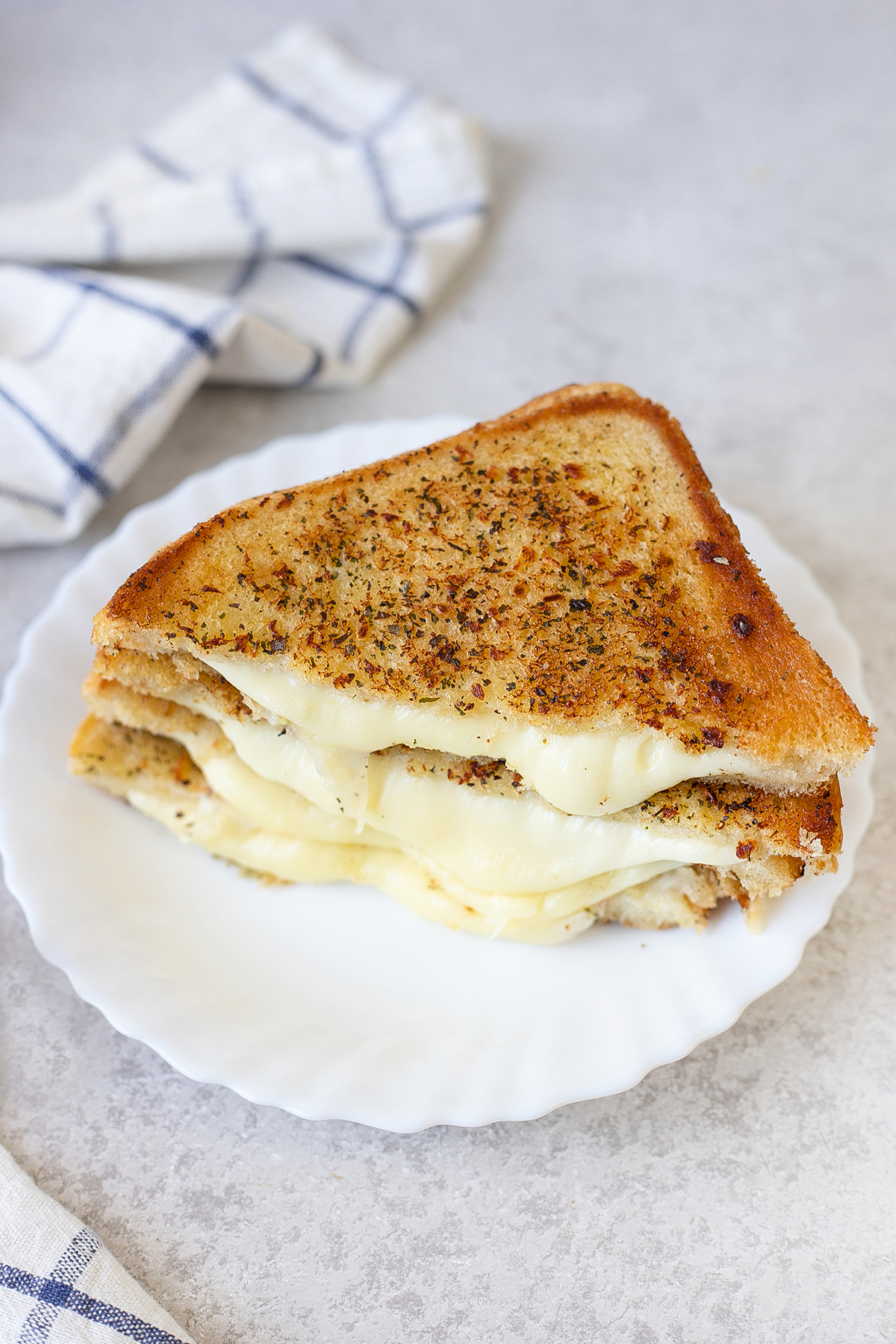 Garlic Bread Grilled Cheese Sandwiches