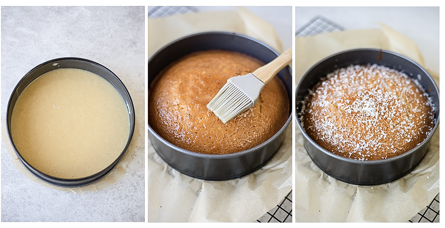Pour the batter into the cake tin and bake