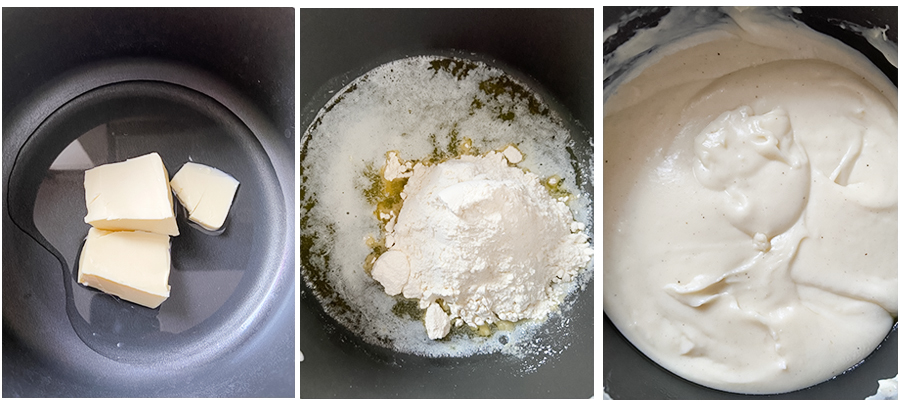 Making the bechamel sauce