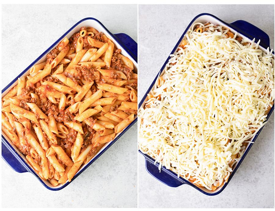 steps of assembling the casserole: