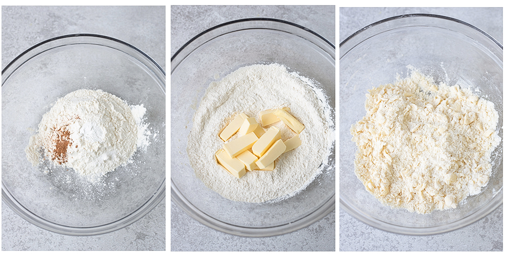 combine all-purpose flour, salt, nutmeg, and baking powder