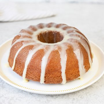 Eggnog Bundt Cake with White Chocolate Icing
