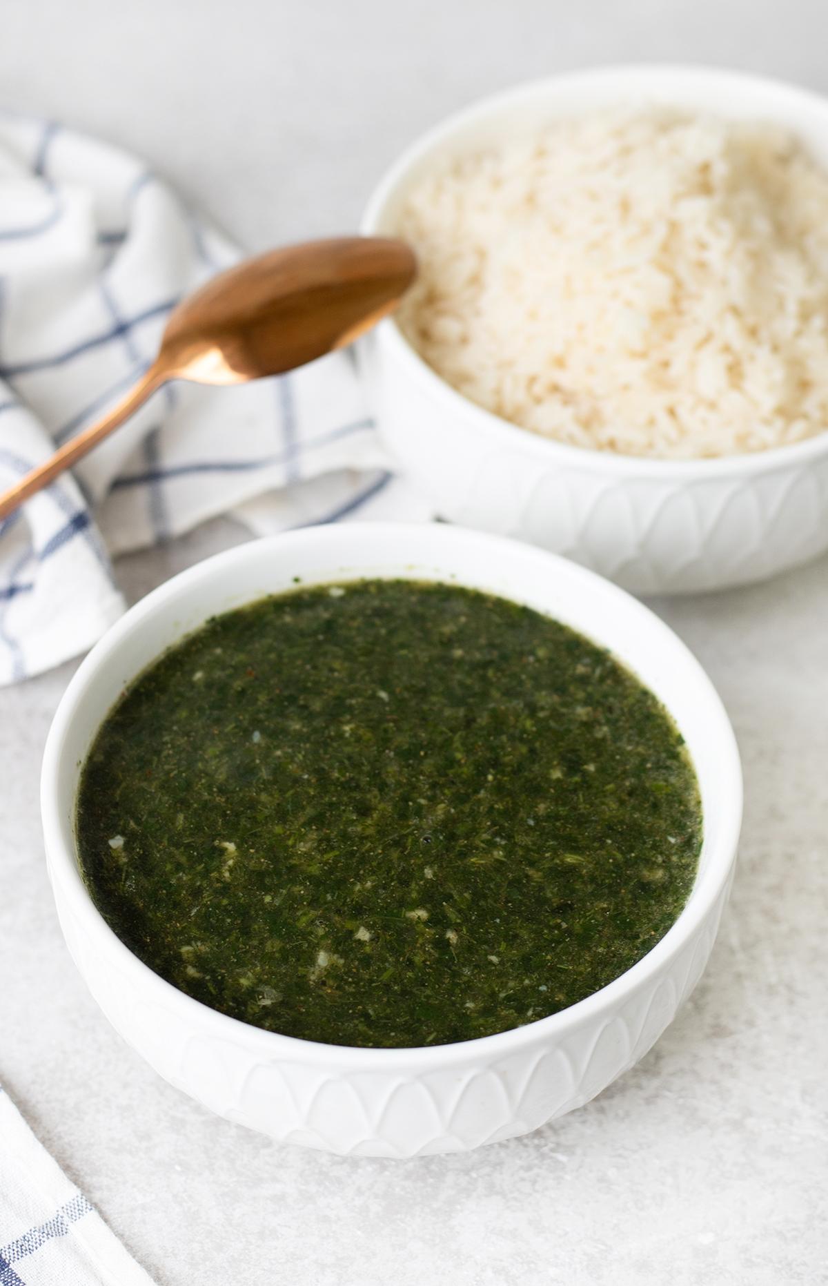 big bowl of Molokhia soup