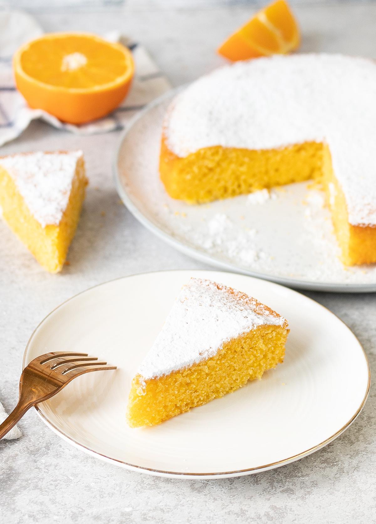 Orange Polenta Cake is a simple Italian-style cake