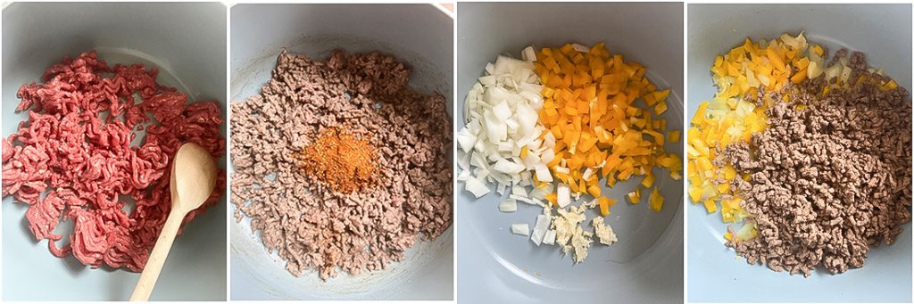 Add the ground beef and cook until browned.