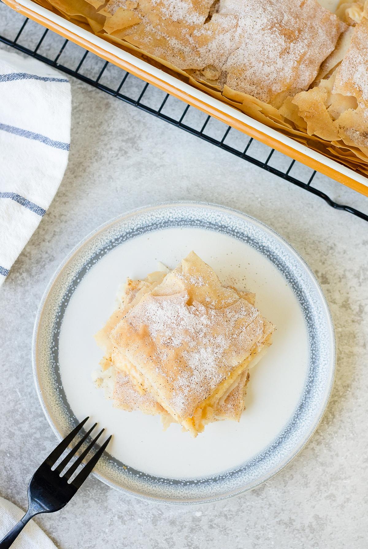 Bougatsa is a Greek Filo custard pie