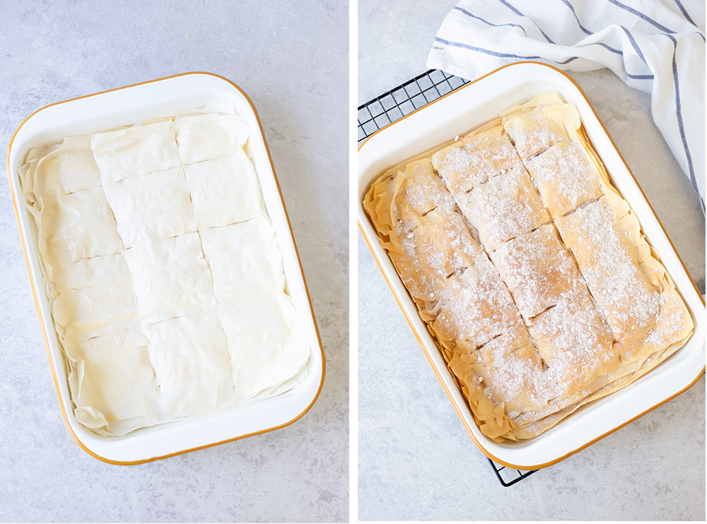 Fold the filo sheet flaps over the custard.