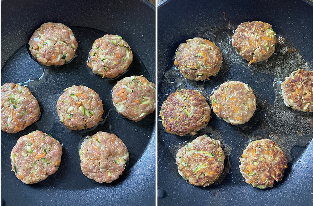 add the first patch of the patties and cook