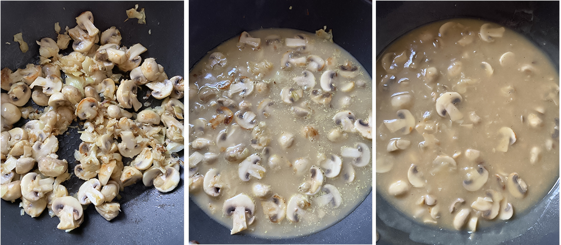 Now, pour the broth mixture over the mushrooms