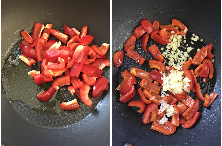 add the bell pepper slices into the wok