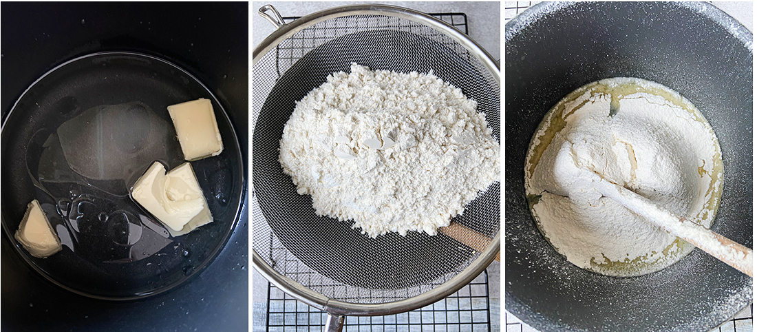 mix butter and water over medium heat