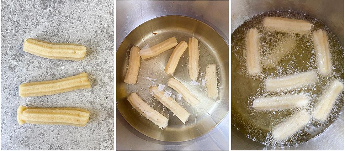 pip the dough into the oil