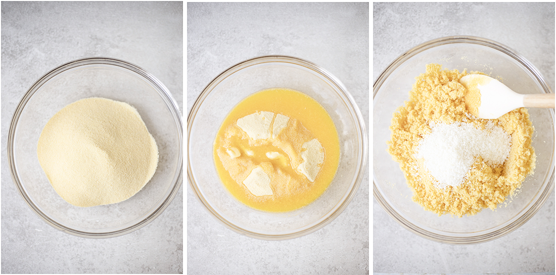combine the semolina and melted butter