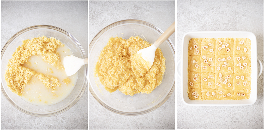 transfer the mixture into the baking pan