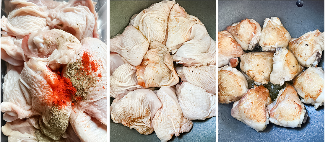 Season the chicken thighs with salt, pepper and paprika