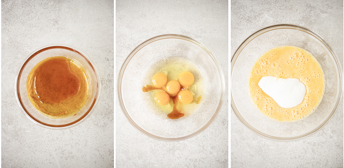 Whisk the eggs and vanilla extract together in a mixing dish
