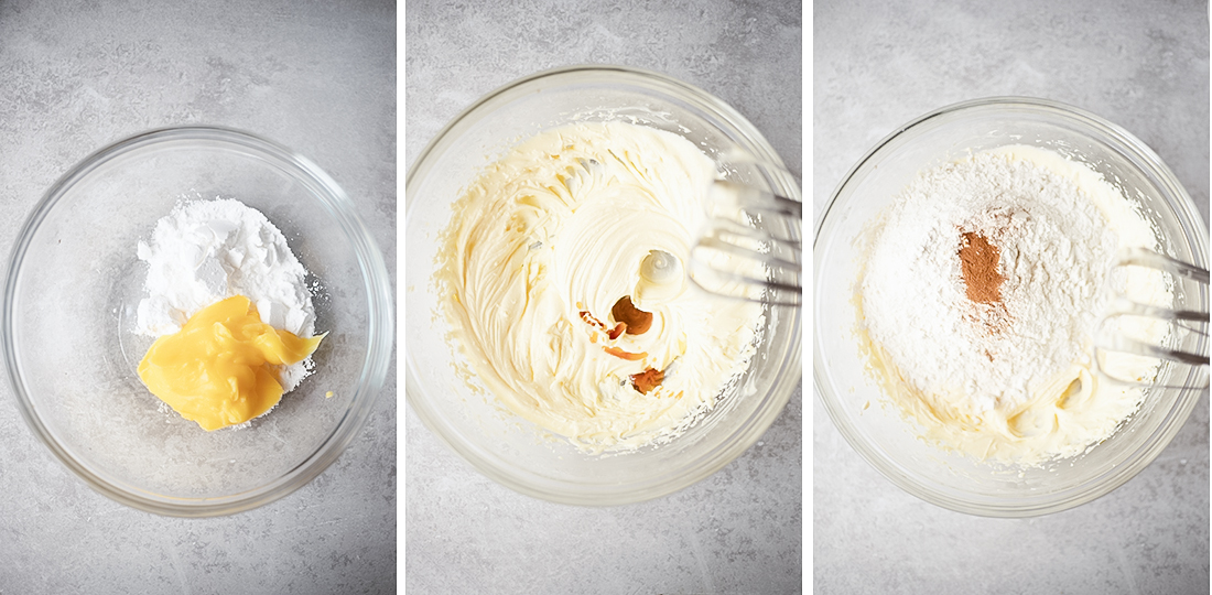 Mix butter and powdered sugar using the electric whisk