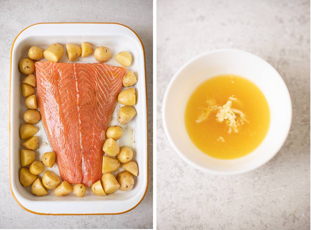 Pat the salmon dry using a paper kitchen towel