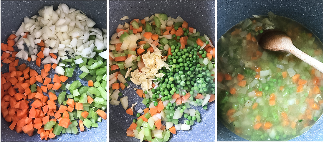 add, chopped carrots, onion and celery.