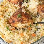 Baked Chicken And Rice in a big casserole