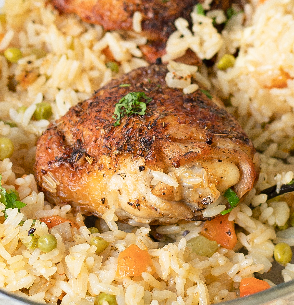 Baked Chicken And Rice in a big dinner plate