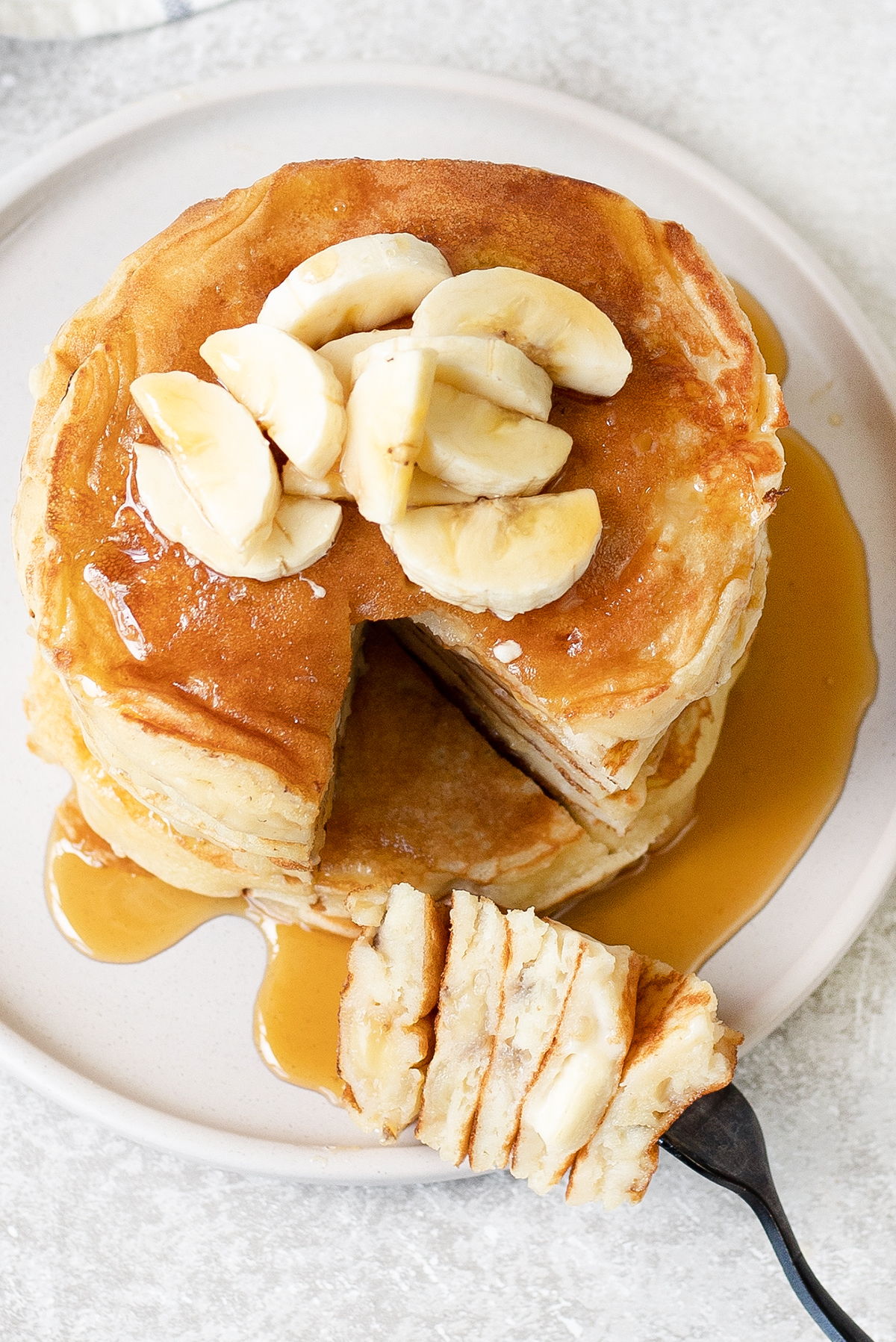 Sour Milk Pancakes with slices of banana